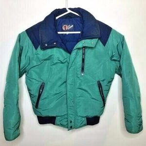Vintage First Down Mens Large Puffer Jacket Green